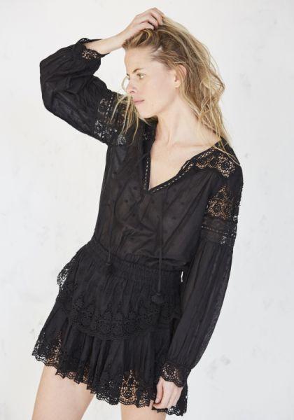 Loveshackfancy Prairie Popover Dress Black