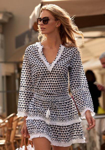 Melissa Odabash Claudia Short Tassel Dress Riviera
