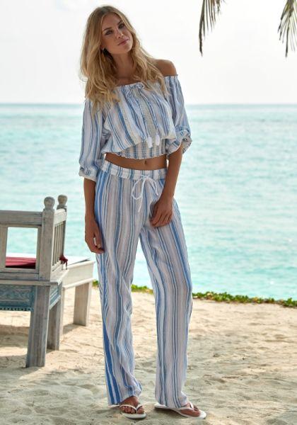 Melissa Odabash Krissy Blue Stripe Trousers