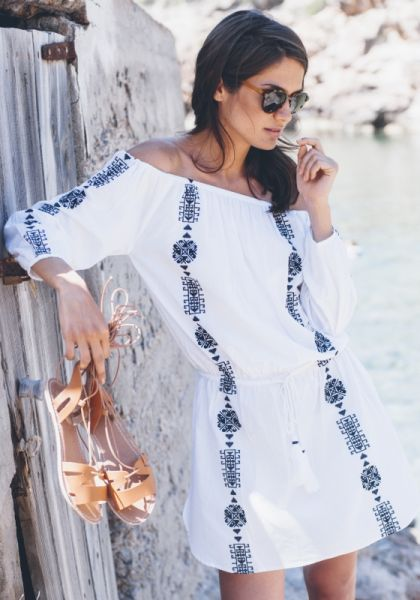 Bardot Dress Navy Embroidery