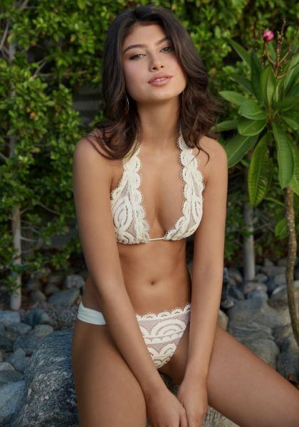 PilyQ Ivory Lace Triangle Bikini