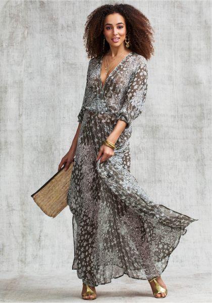 Poupette St Barth Long Silk Ilona Dress Grey