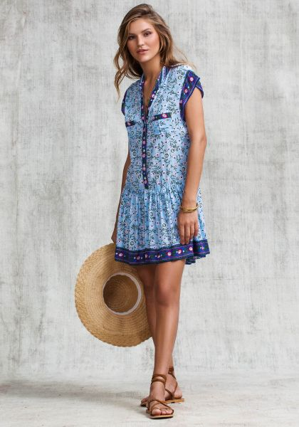 Poupette St Barth Amora Mini Dress Blue Margot