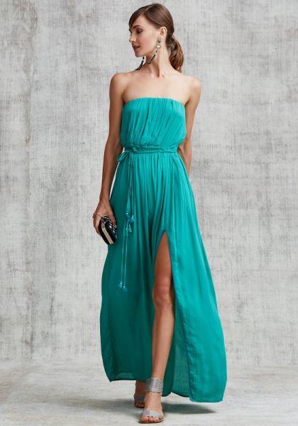 Poupette St Barth Strapless Mara Maxi Dress Green