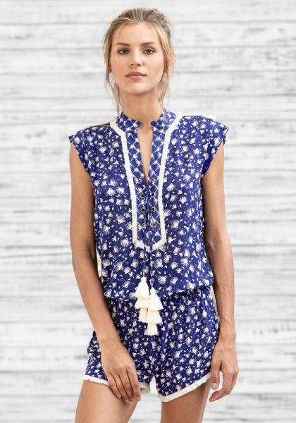 Poupette St Barth Short Donna Jumpsuit Blue Tassel