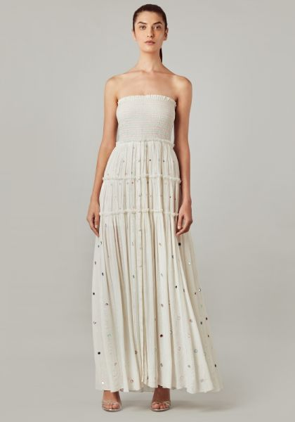 Rococo Sand Strapless Long Dress Off White