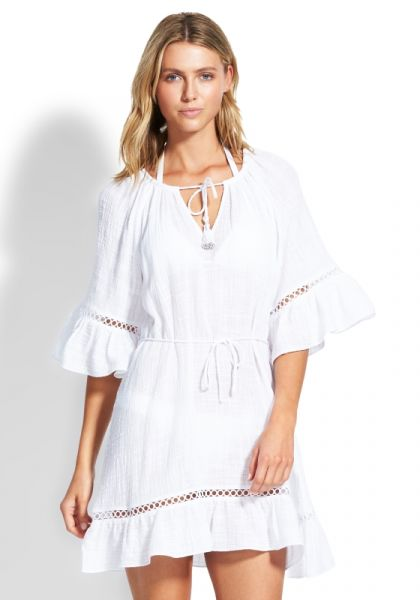 Seafolly Bell Sleeve Coverup White