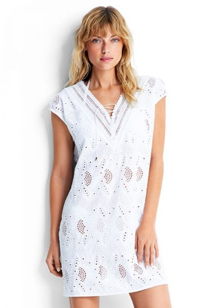 Seafolly Broderie Coverup White