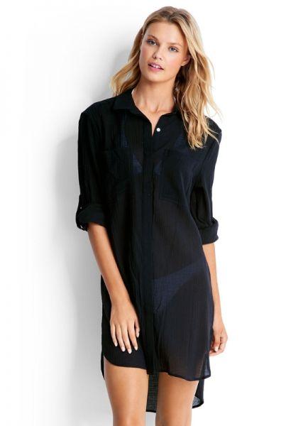 Seafolly Crinkle Twill Beach Shirt Black