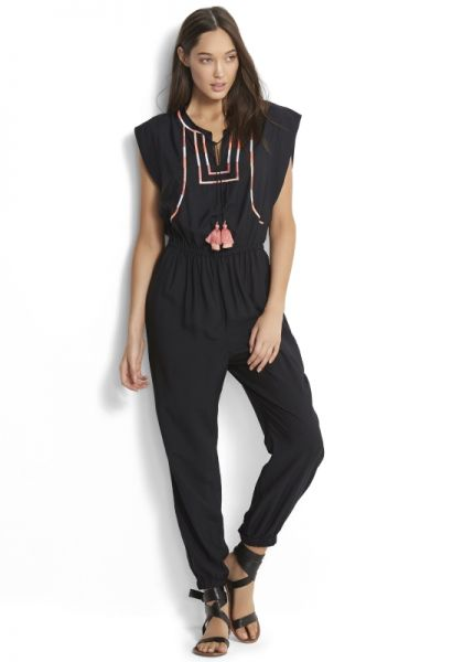 Seafolly Black Embroidered Jumpsuit