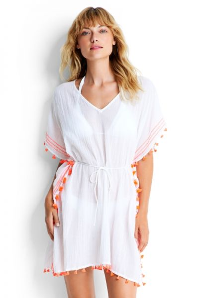 Seafolly Mini Tassel Gauze Kaftan White
