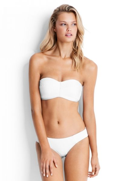 Seafolly Quilted Bandeau Bikini White