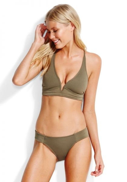 Seafolly Quilted Longline Bikini Olive