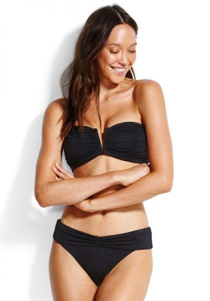 Seafolly Ruched Bandeau Bikini Black
