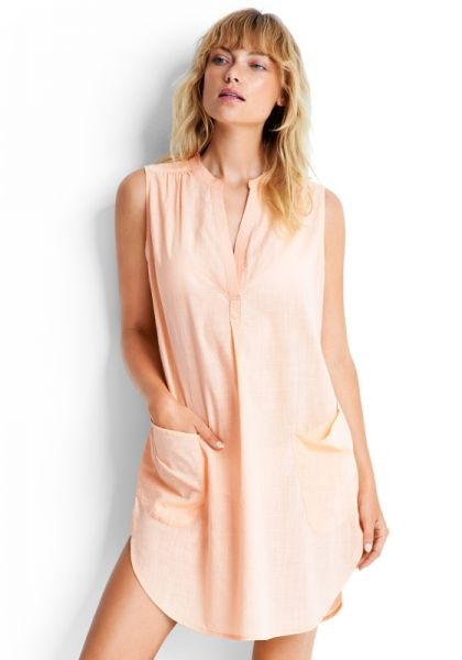 Seafolly Sleeveless Beach Shirt Peach
