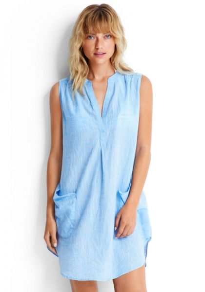 Seafolly Sleeveless Beach Shirt Blue