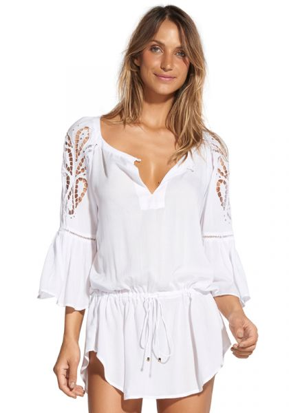 Vix Swimwear Solid Embroidery Chemise Tunic White