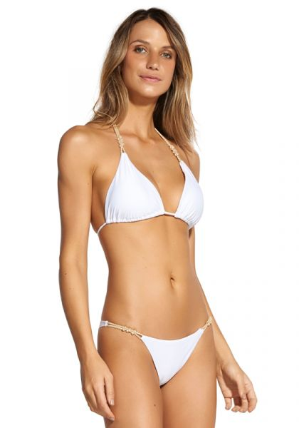 Rope Knot Triangle Bikini White