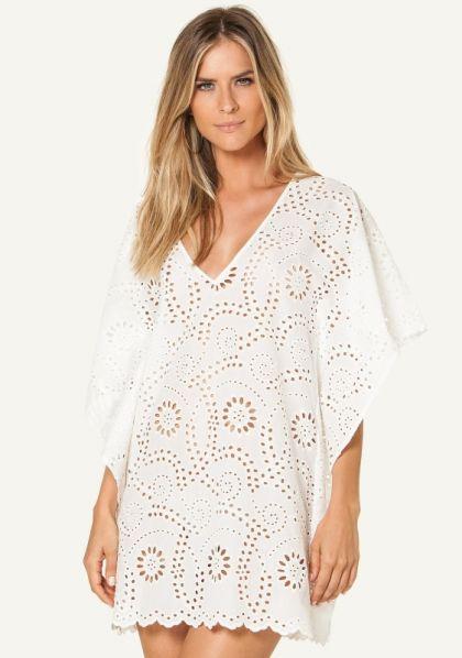 Vix Swimwear White Lace V Kaftan