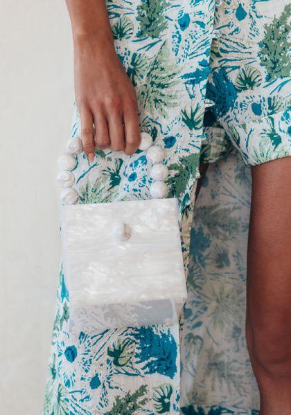 Cult Gaia Eos Box Bag-Pearl