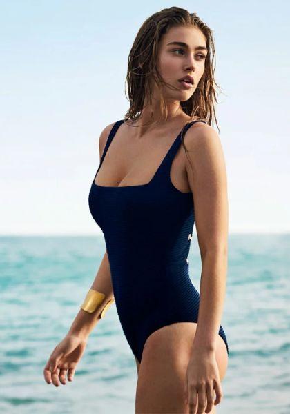 Heidi Klein Carlisle Bay Lace Back One Piece Navy