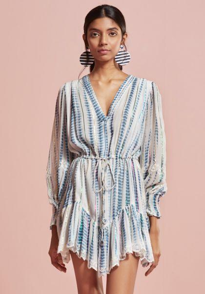 Hemant & Nandita Esme Dress Blue/White