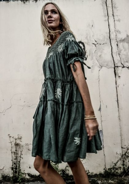 Innika Choo Smocked collar Mini Dress Green