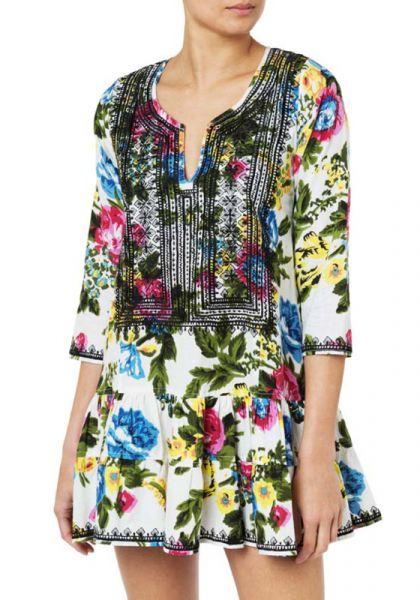 Juliet Dunn Floral Print 3/4 Sleeve Dress
