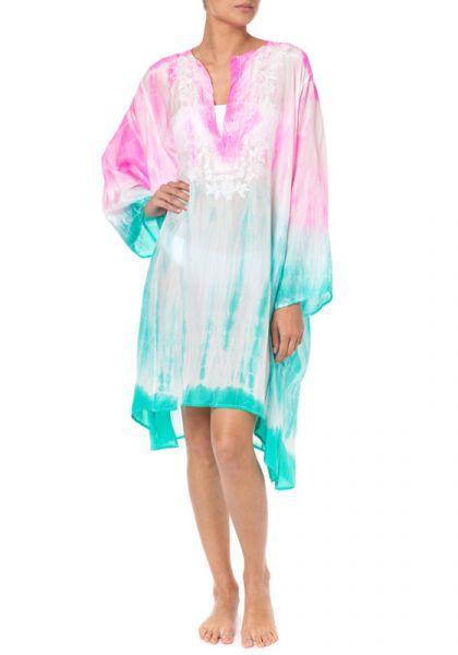 Juliet Dunn Batik Tie Dye Kaftan Pink/Jade