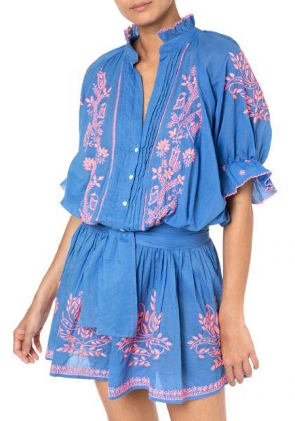 Juliet Dunn Blouson Dress Lotus Embroidery Denim/Blue