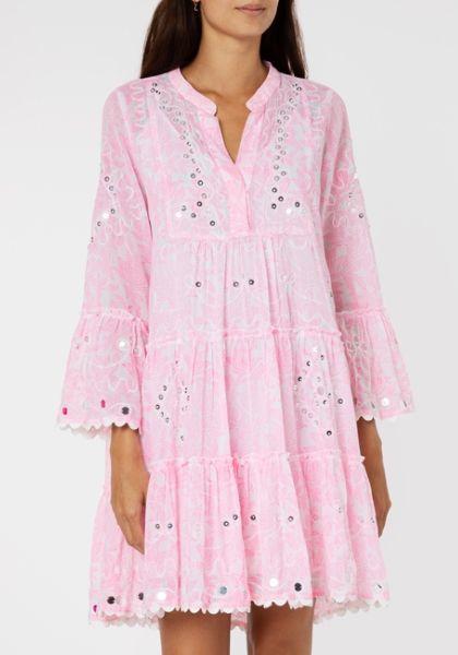 Juliet Dunn Flared Sleeve Dress Pink