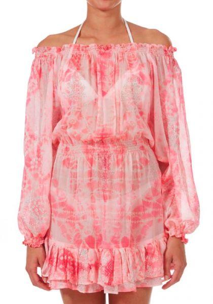 Juliet Dunn Marble Silk Bardot Dress