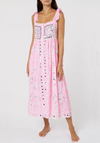 Juliet Dunn Neon Block Shoulder Tie Dress