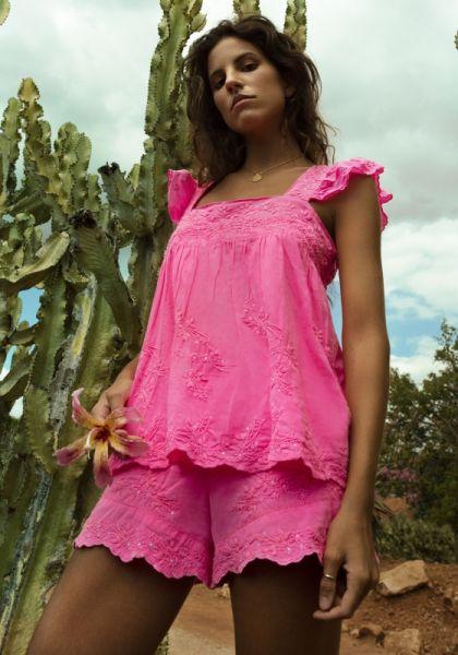 Juliet Dunn Baby Doll Top Neon Pink