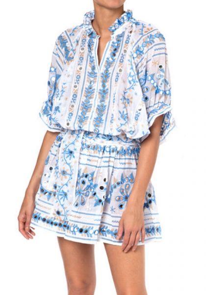 Juliet Dunn Nomad Blouson Dress Blue