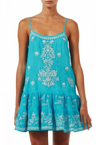 Juliet Dunn Turquoise Silk Cami Dress