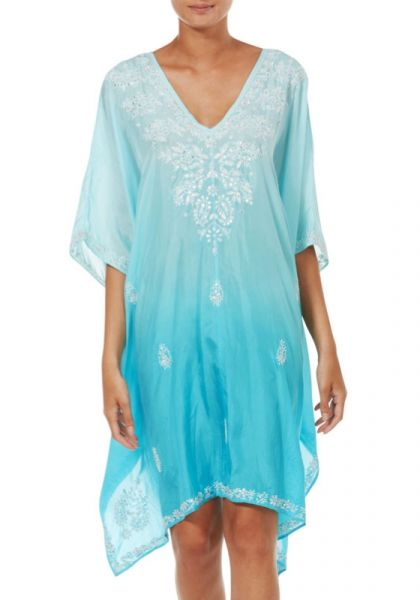 Juliet Dunn Silk Ombre Poncho Turquoise