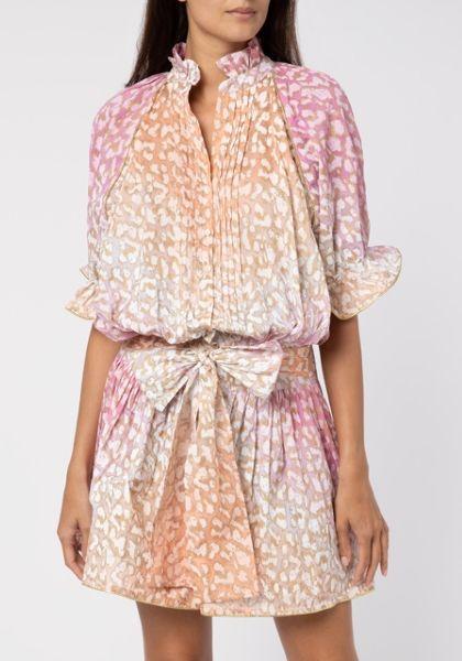Juliet Dunn Snow Leopard Blouson Dress