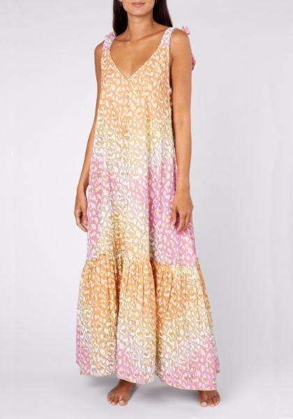 Juliet Dunn Snow Leopard Maxi Dress