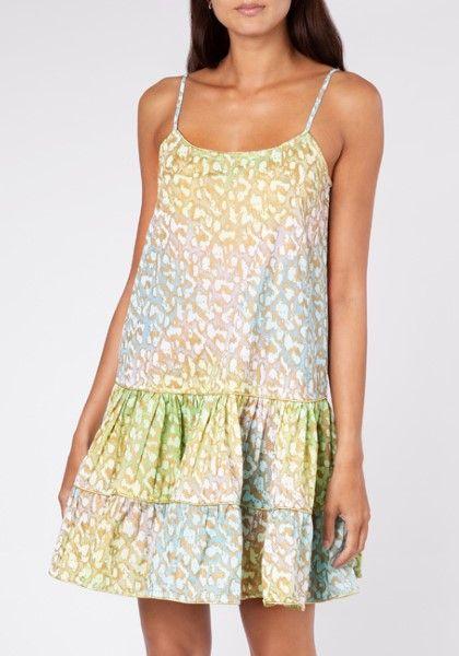 Juliet Dunn Snow Leopard Strappy Mini Dress