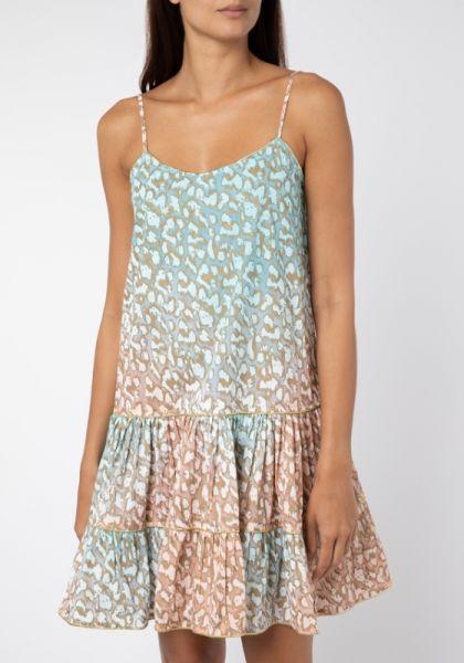 Juliet Dunn Snow Leopard Strappy Mini Dress Turqoise