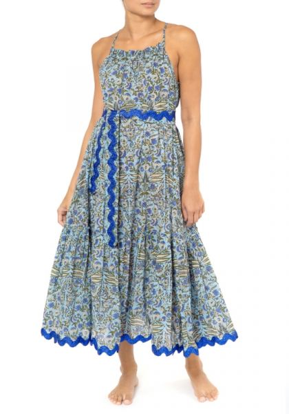 Juliet Dunn Cotton Temple flower print cross back midi dress blue/cobalt