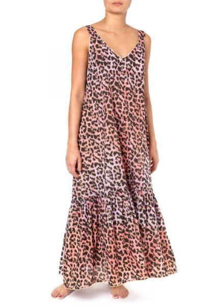 Juliet Dunn Tie Dye Leopard Print V Maxi Dress