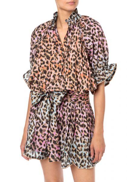 Juliet Dunn Tie Dye Leopard Print Blouson Dress