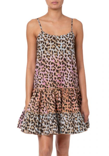 Juliet Dunn Tie dye leopard print strappy dress