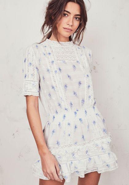 LoveShackFancy Leighton Dress Blue
