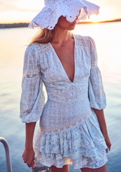 LoveShackFancy Abitha Dress White