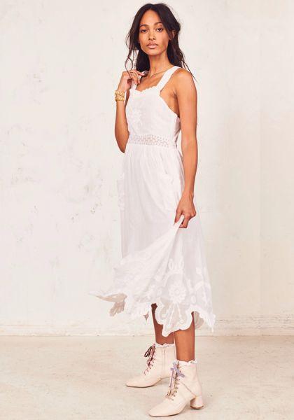 LoveShackFancy Raven Dress White