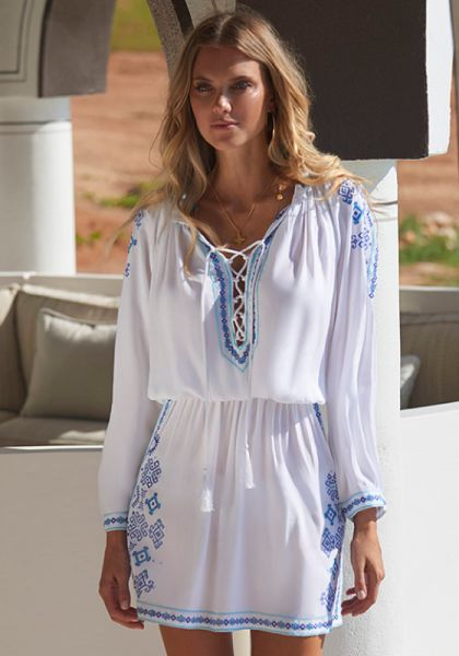 Melissa Odabash Ellie Dress White/Celeste