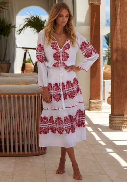 Melissa Odabash Lela Dress White/Red